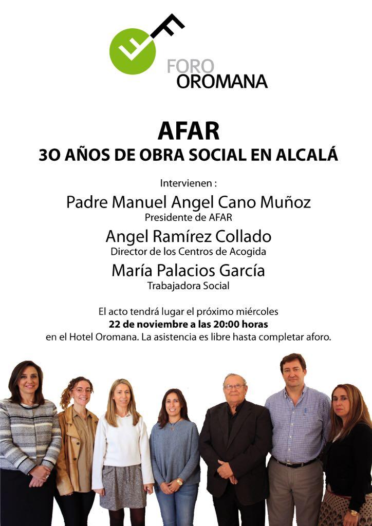 Cartel de AFAR 30 años de obra social en Alcalá