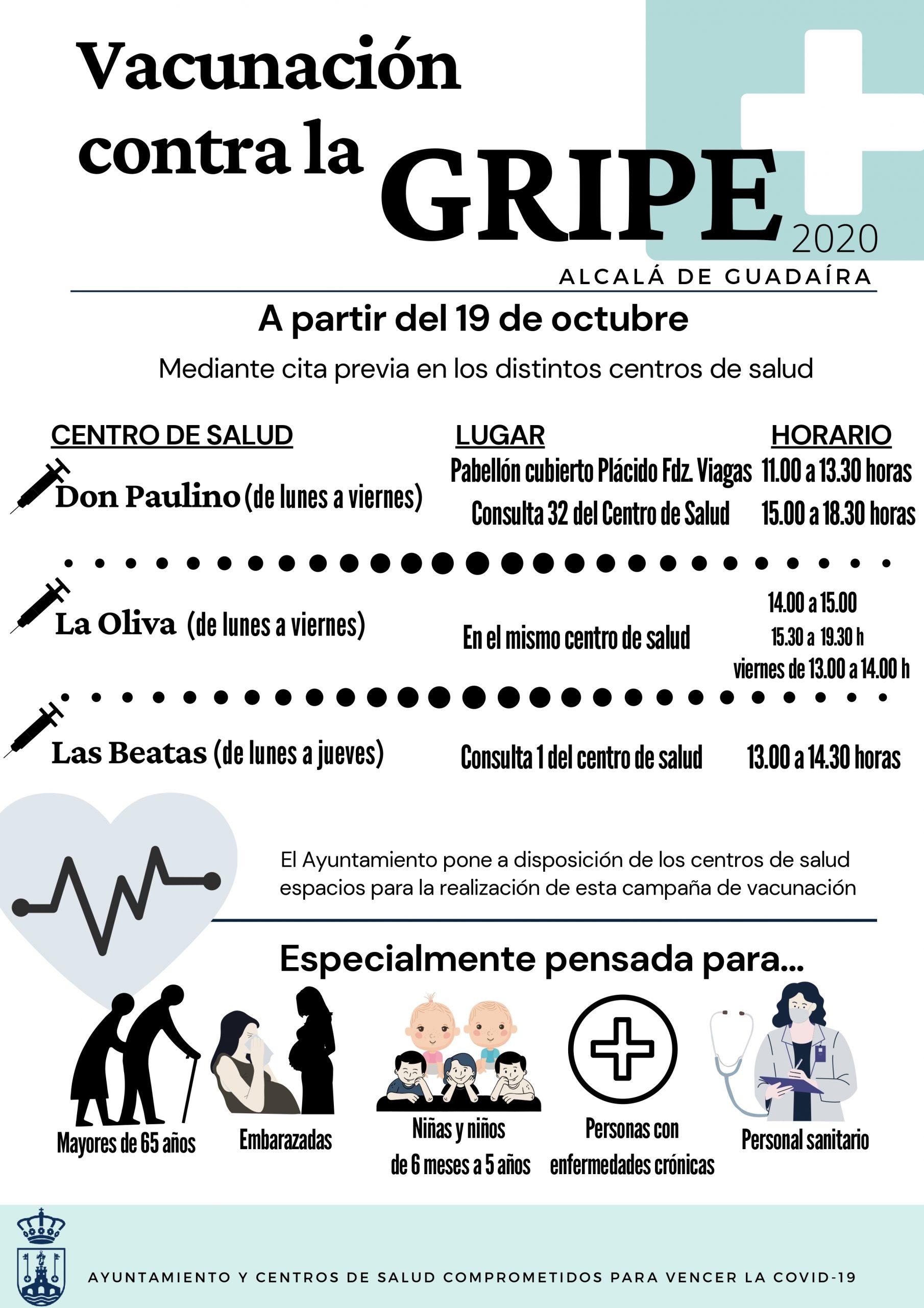 Cartel vacunación contra la gripe 2020