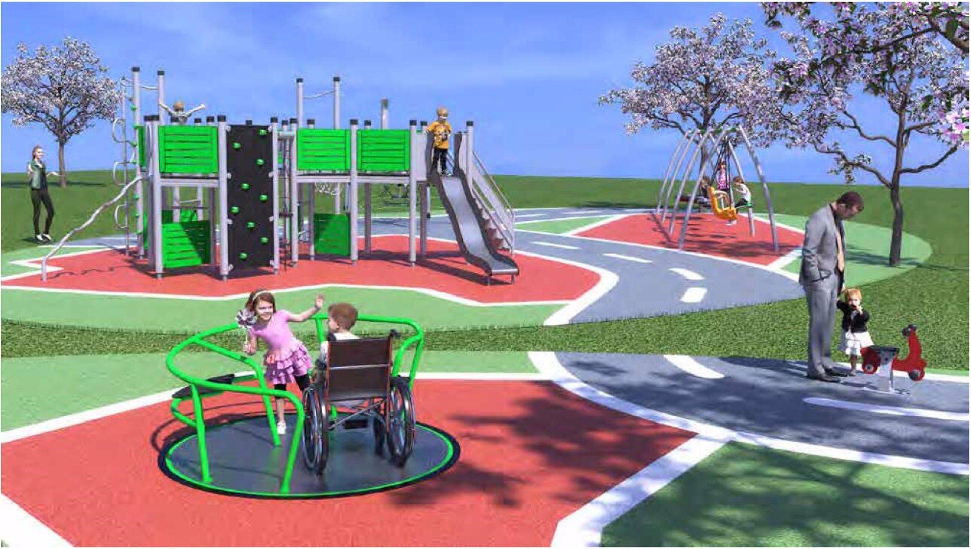 Zona de juegos infantiles proyectada en el parque 'Hermanos Machado' de Alcalá de Guadaíra (Sevilla).