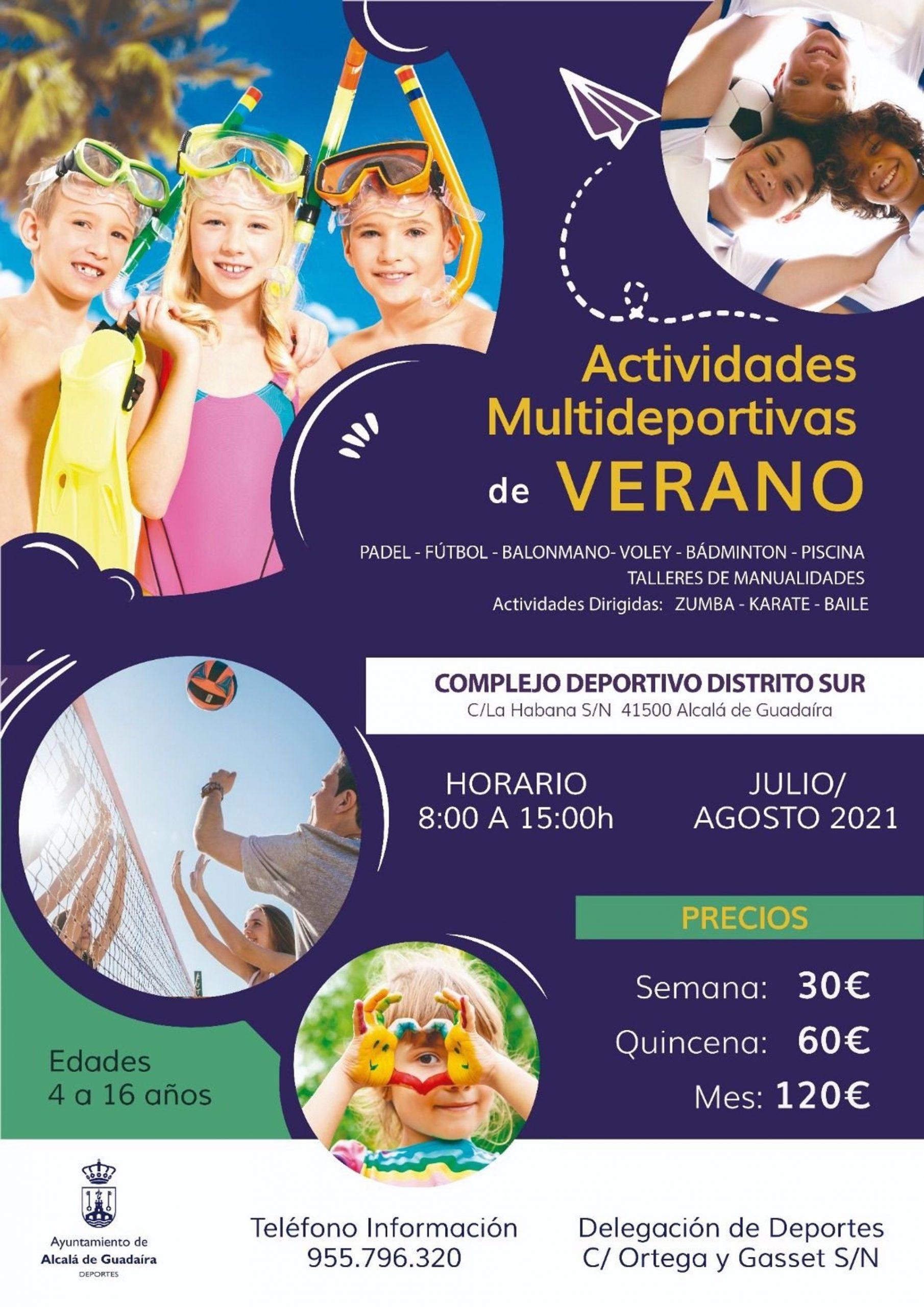 Cartel de las actividades de verano para menores en el Distrito Sur de Alcalá de Guadaíra (Sevilla).